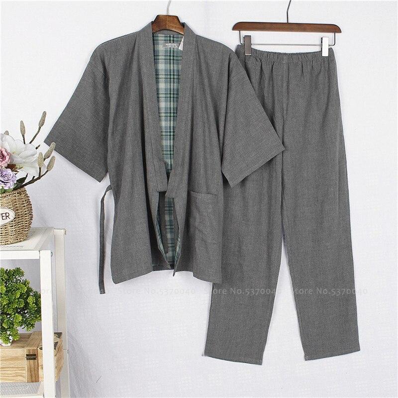 Japanese Cotton Kimono Bath Robe Samurai Men Haori Yukata Top Pants Sleepwear Pajamas Clothing Set Chinese Traditional Nightgown