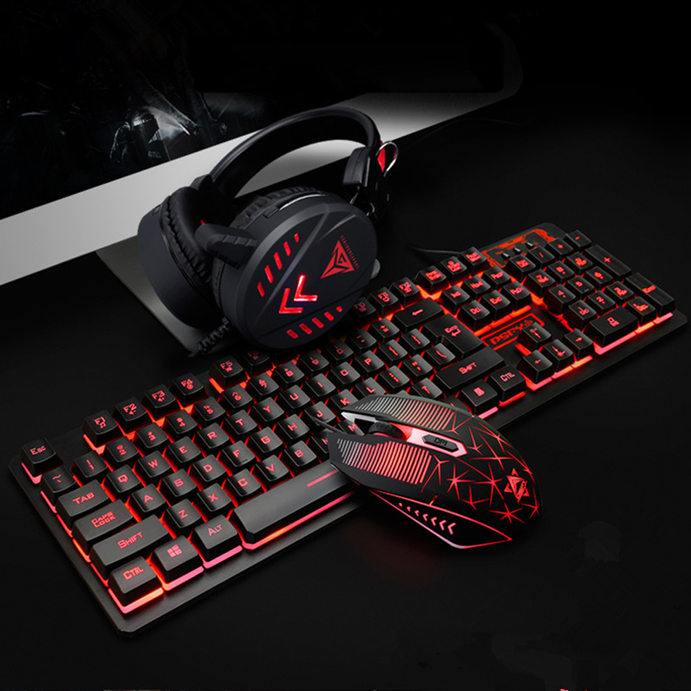4Pcs Pad USB Computer Waterproof Gaming Mouse Headset Home Illuminated Wired Backlight Desktop Ergonomic Keyboard Set
