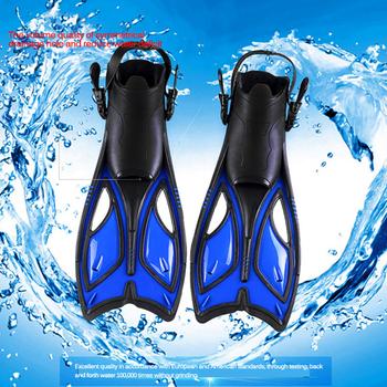 Płetwy do nurkowania dorosłych Snorkeling Foot Flipper dzieci początkujący płetwy do pływania sprzęt przenośne krótkie żaby buty kobiety mężczyźni sporty wodne tanie i dobre opinie Diving Frog Shoes RUBBER Dla dorosłych
