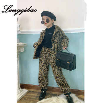 Girls Plus Cotton Suit 2019 Winter New Big Children Europe and America Leopard Suit Suit Casual Fashion Two Sets of Tide