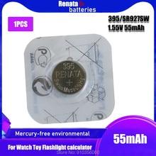 Renata prata óxido relógio bateria 395 sr927sw 927 1.55v 100% marca original renata 395 renata 927 bateria
