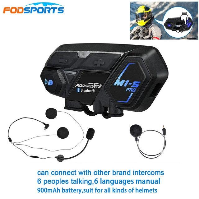 הכי חדש Fodsports M1 S פרו אופנוע אינטרקום 8 רוכבים קסדת אוזניות Bluetooth Bluetooth האינטרפון להתחבר BT S2 V6 TCOM SC