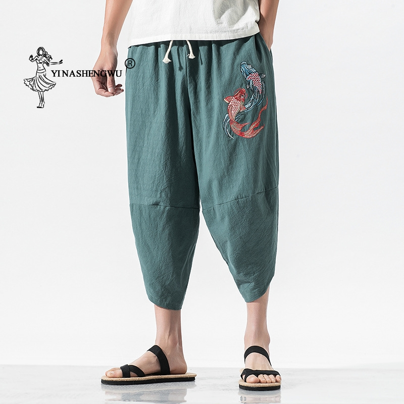 Kimono Pants Casual Loose Seven-point Trousers Japan Kimono Traditional Print Pants Haori Pants Asian Costume Kimono Yukata Men