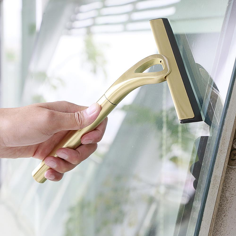 Glass Wiper Brushed Gold Cleaning Window Cleaner <font><b>SUS</b></font> <font><b>304</b></font> Telescopic Rod Silicone Rotating Head with holder Cleaning Tool image