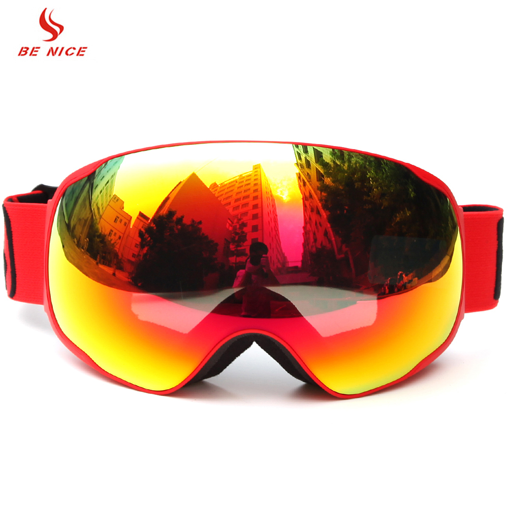 BENICE SN-3100 Ski Goggles Adult Snowboarding Skating Goggles UV400 Anti-fog Big Ski Mask Glasses Men Women Skiing Goggles