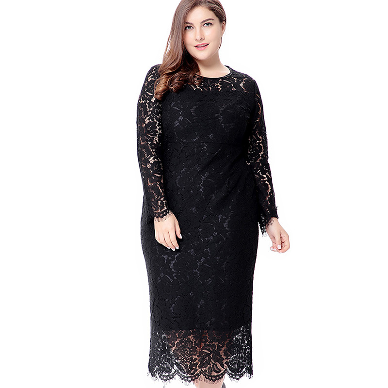 Miaoke Plus Size Long Sleeve Midi Lace <font><b>Dress</b></font> Women Clothing 2018 High Quality Fashion <font><b>Sexy</b></font> <font><b>Club</b></font> Party Elegant <font><b>Dresses</b></font> <font><b>4XL</b></font> 5XL 6X image
