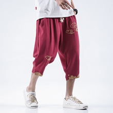 5XL Men Yoga Pant Linen Embroidery Loose Wide Leg Harem Sweat Baggy Bloomer Casual Jogger Running Workout Athletic
