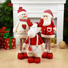Big Size Christmas Dolls Retractable Santa Claus Snowman Elk Toys Xmas Figurines Gift for Kid Red Tree Ornament
