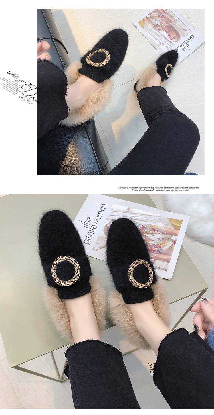 All-Match Shoes Woman 2019 Dress Flats Women Shallow Mouth Loafers Fur Modis Women's Moccasins Round Toe Casual Female Sneakers 45