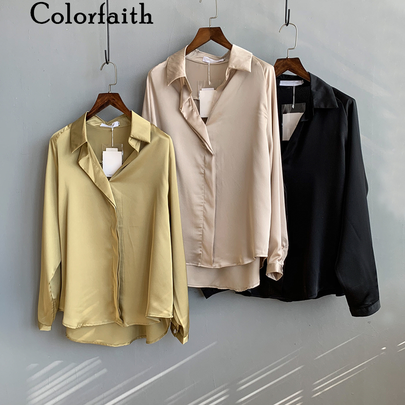 Colorfaith New 2020 Women Spring Summer Satin Blouse Shirts Casual Multi Colors Loose Notched Fashionable Female Tops BL6827