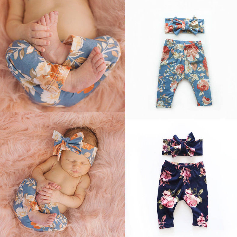 Kids Newborn Infant Baby Girls High Waist Floral Print Clothes Bottoms Leggings Pants Toddler Trousers + Headband Outfit Set