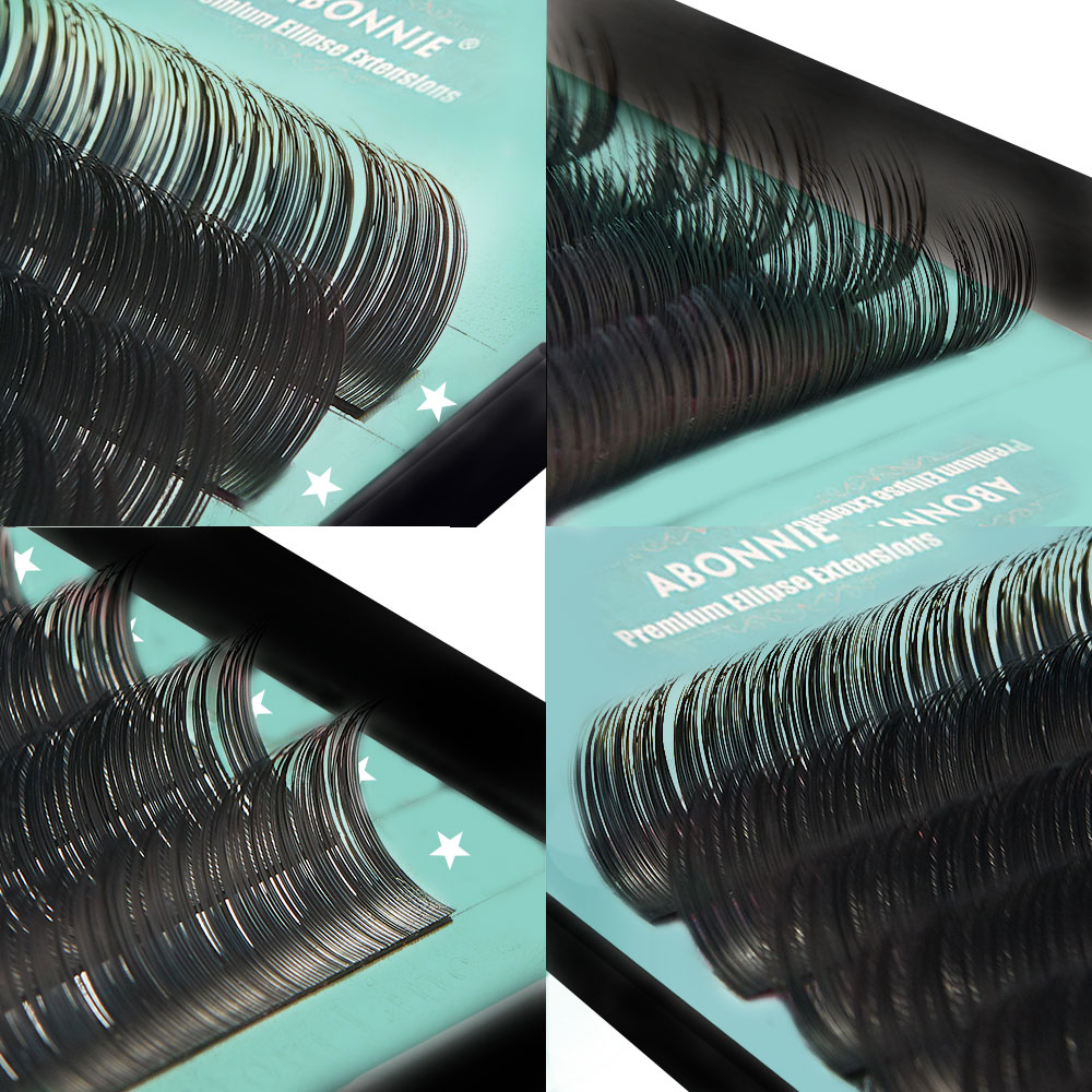 Abonnie New Matte Flat Eyelashes Extension Individual Mink 0.15 0.20 Softer Ellipse Flat Lash Split Tips Ligher Volume