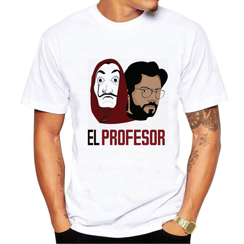 La Casa De Papel t shirt homme Money Heist tshirt graphic tees men funny t shirts male House of Paper cartoon print t shirt in T Shirts from Men 39 s Clothing