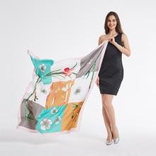 130*130cm TOP Silk asparagus luxurious Scarves Women Foulard Square Hijab