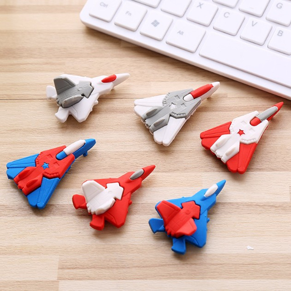 1Pcs Cute Creative Cartoon Aircraft Styling Eraser Cartoon Rubber Primary School   Students Supplies Small Well-cleaned Gifts