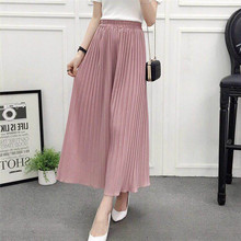Chiffon Wide Leg Pleated Trousers High Waist Ladies Elegant Women Pants Casual Female Loose Leggings