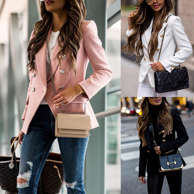 Ladies Formal Outwear Elegant White Pink Black Tops New 2019 Autumn Winter Women   Jackets   Office Double Breasted   Basic     Jacket