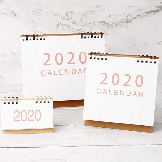 New 2020  Large Medium Small Vertical Kraft Paper Calendar Simple Desktop Calendar Daily Schedule Planner Office School Supply 3