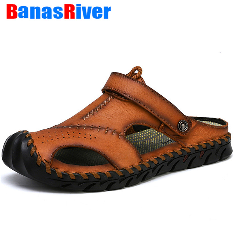 Classic Hollow Breathable Men Sandals  High Quality Luxury Summer Soft Comfortable Slippers High Quality Leather Big Size Roman