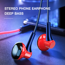 In Ear Wired Headphones 3.5mm Stereo Bass Earphone In-ear Headset Music Earbuds Wire with Mic for Mobile Phone MP3 MP4(China)