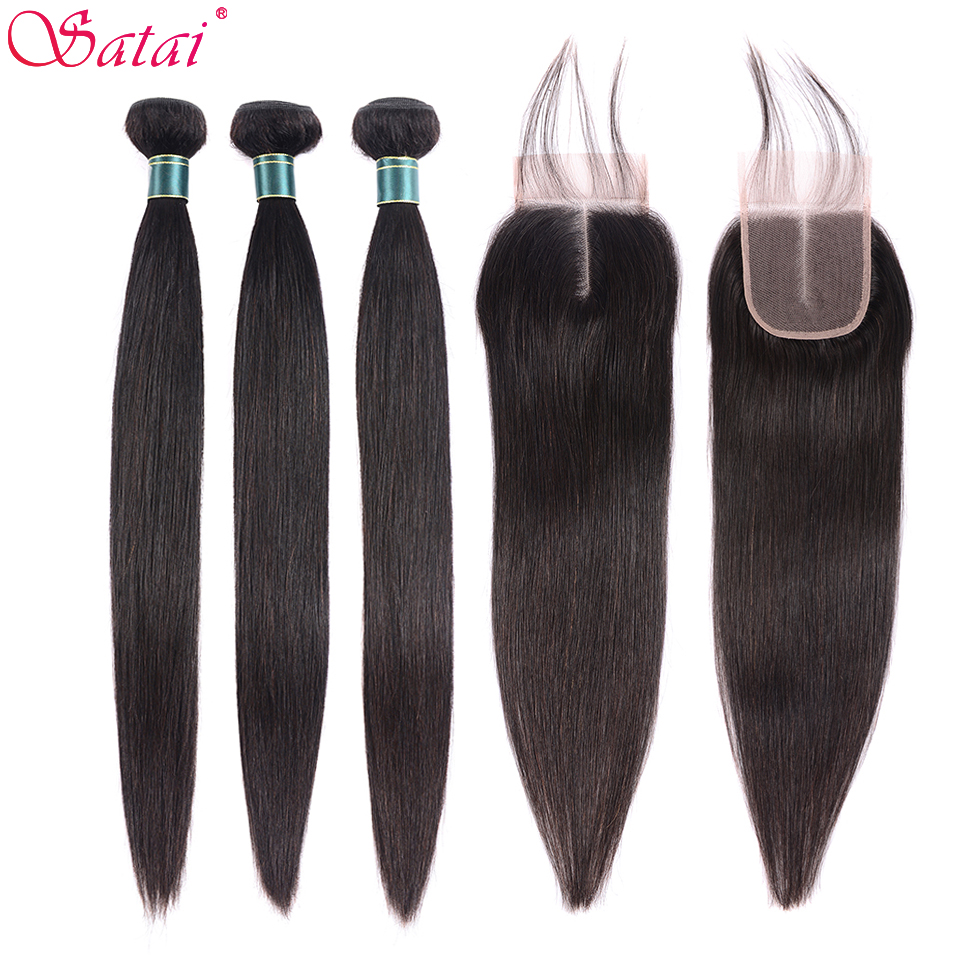 SATAI Straight Hair Human Hair Bundles with Closure Mongolian Hair 3 Bundles With Closure Natural Color Non Remy Hair Extension-in 3/4 Bundles with Closure from Hair Extensions & Wigs
