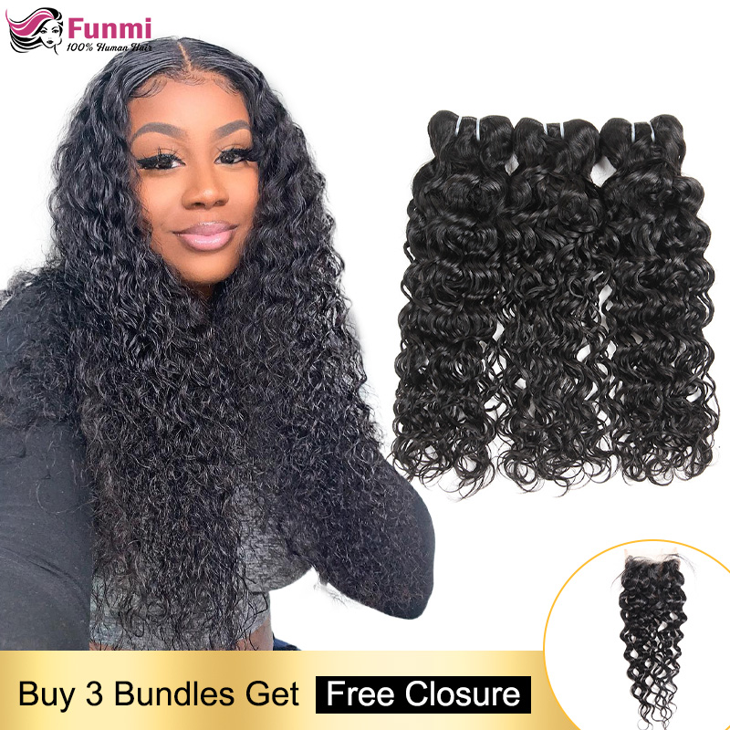 Free Closure Human Hair Bundles Malaysian Hair Weave Bundles Water Wave Hair Bundles With Closure Human Hair Bundles Non-Remy