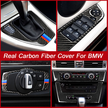 Carbon Fiber For BMW 3 Series E90 E92 E93 Headlight Eyebrow Eyelid Window Switch Button Panel Cover Trim Sticker Accessories image
