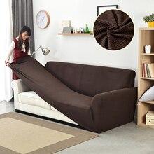 Funda de sofá de lana Polar gruesa cubierta elástica Universal con textura de granos de maíz, cobertor para muebles de 1/2/3/4 asientos