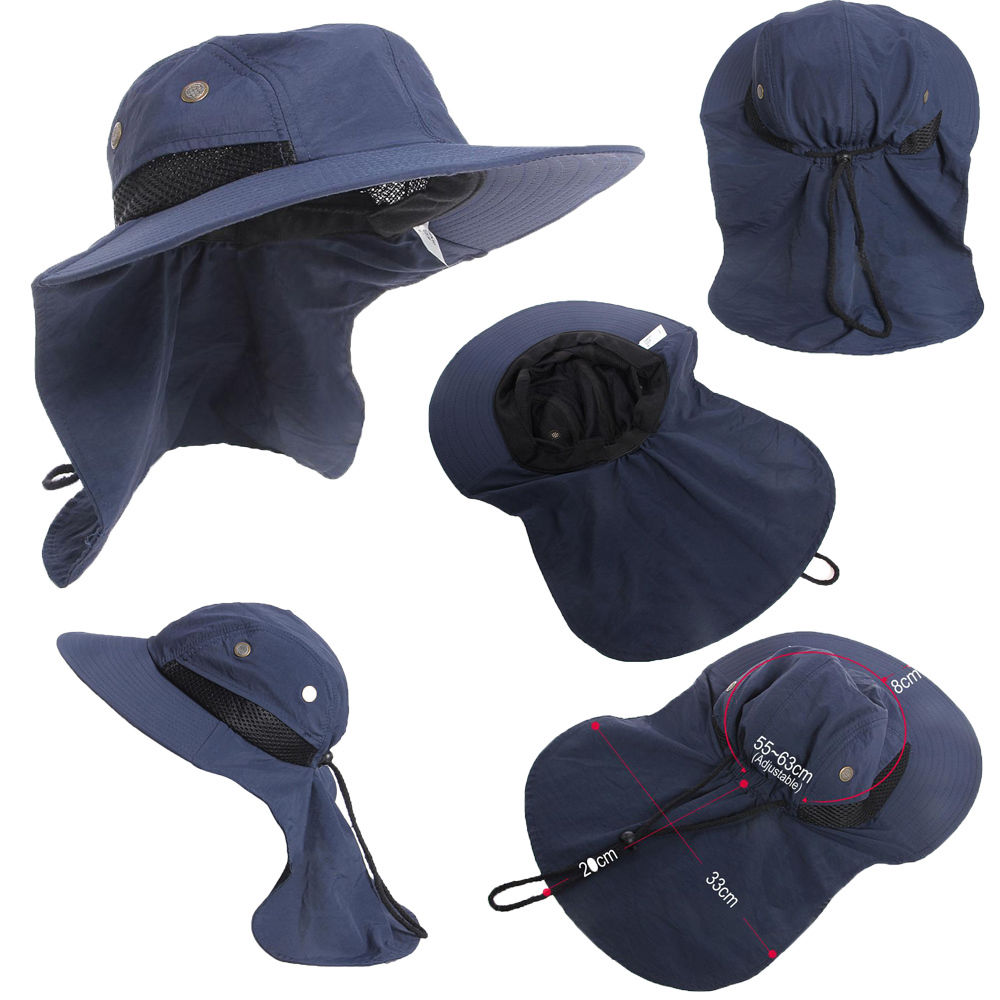Summer Hot New Function Neck Flap Boonie Hat Fishing Hiking Safari Outdoor Sun Brim Bucket Bush Cap Casual Style