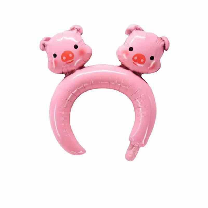 5PCS שיער חישוק ארנב דוב בעלי החיים בלון חמוד סרט עם רדיד בלון ורוד צעצועי ילדים מסיבת יום הולדת ילדים קישוט