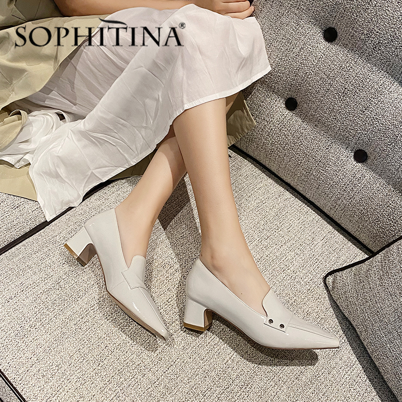 SOPHITINA Spring Autumn Women Pumps Square Toe Square Heel Med High-Quality Patent Leather Fashionable Shoes Casual Pumps SO324