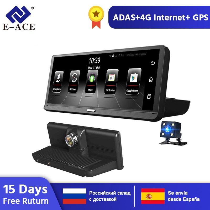 E-ACE E14 4G Android Traço Carro Dvr Navegação GPS Gravador de Vídeo Camara 8.0 Polegada Dashcam ADAS Auto Secretário Com câmera de Visão traseira