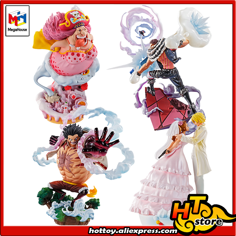 100% Original Megahouse LOG BOX RE BIRTH PVC Toy <font><b>Figure</b></font> - Full Set 4 <font><b>Pieces</b></font> Sanji Luffy <font><b>Katakuri</b></font> BIG MOM From