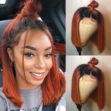 Pre Plucked Ombre Colored Short Bob Wig 150% Density Ginger Orange Lace Front Human Hair Wigs Straight Brazilian Remy Hair 13x4(China)