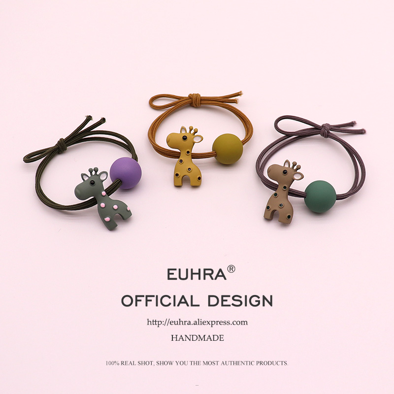 EUHRA 5 Colors Cute Metal Giraffe Sika Ceer With Bead Girls Women Elastic Hair Band Kid Children Rubber Band High Elasticity