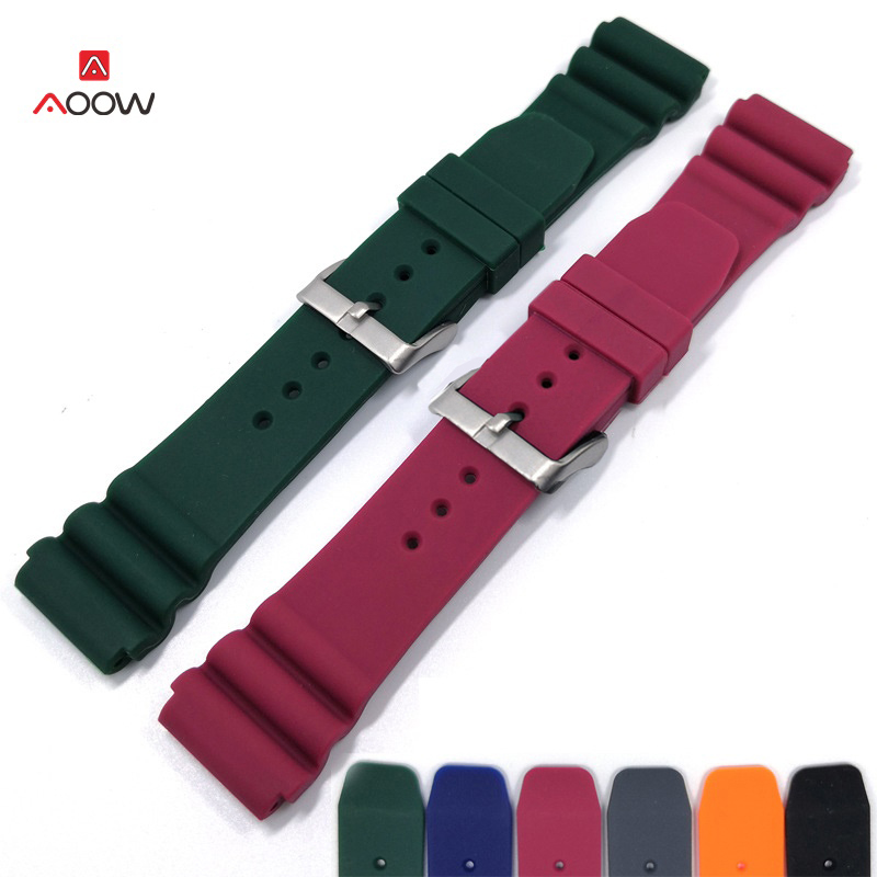 AOOW 22mm Diving Watchband Rubber Bracelet Band Strap Waterproof Women Men Replacement Black Buckle Watch Accessories
