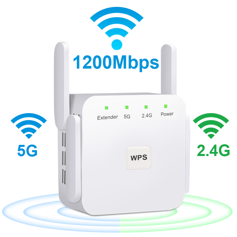 Wireless WiFi Repeater 5G WiFi Extender 1200Mbps Repiter Wifi Long Range Booster Wi-Fi Signal Amplifier AC 2.4G 5ghz Ultraboost