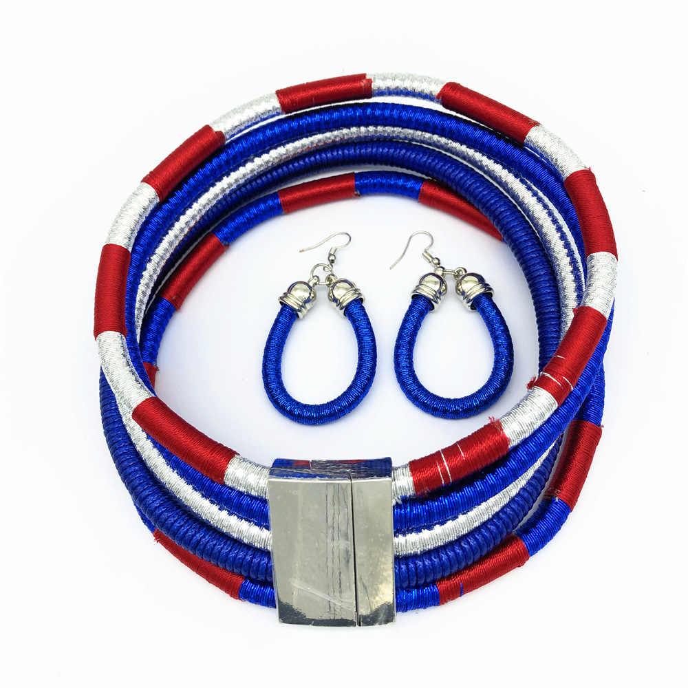 Liffly Marke Halskette Ohrringe Multi-schicht Woven Schmuck Halsband Halskette Braut Hochzeit Afrikanische Perlen Schmuck-Set für Frauen