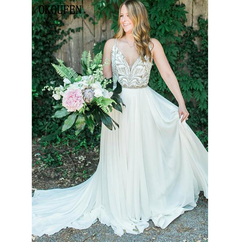Sexy Beach Wedding Dresses 2019 Beading Spaghetti Strap Chiffon Backless Bridal Bride Gowns Summer Vestido De Novia Robe Mariage