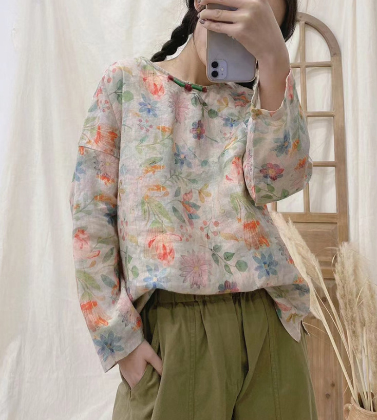 2021 New Blouse Spring Retro Women Pullovers Shirt Tops O-Neck Print Loose Casual Tops Vintage Blouse 4