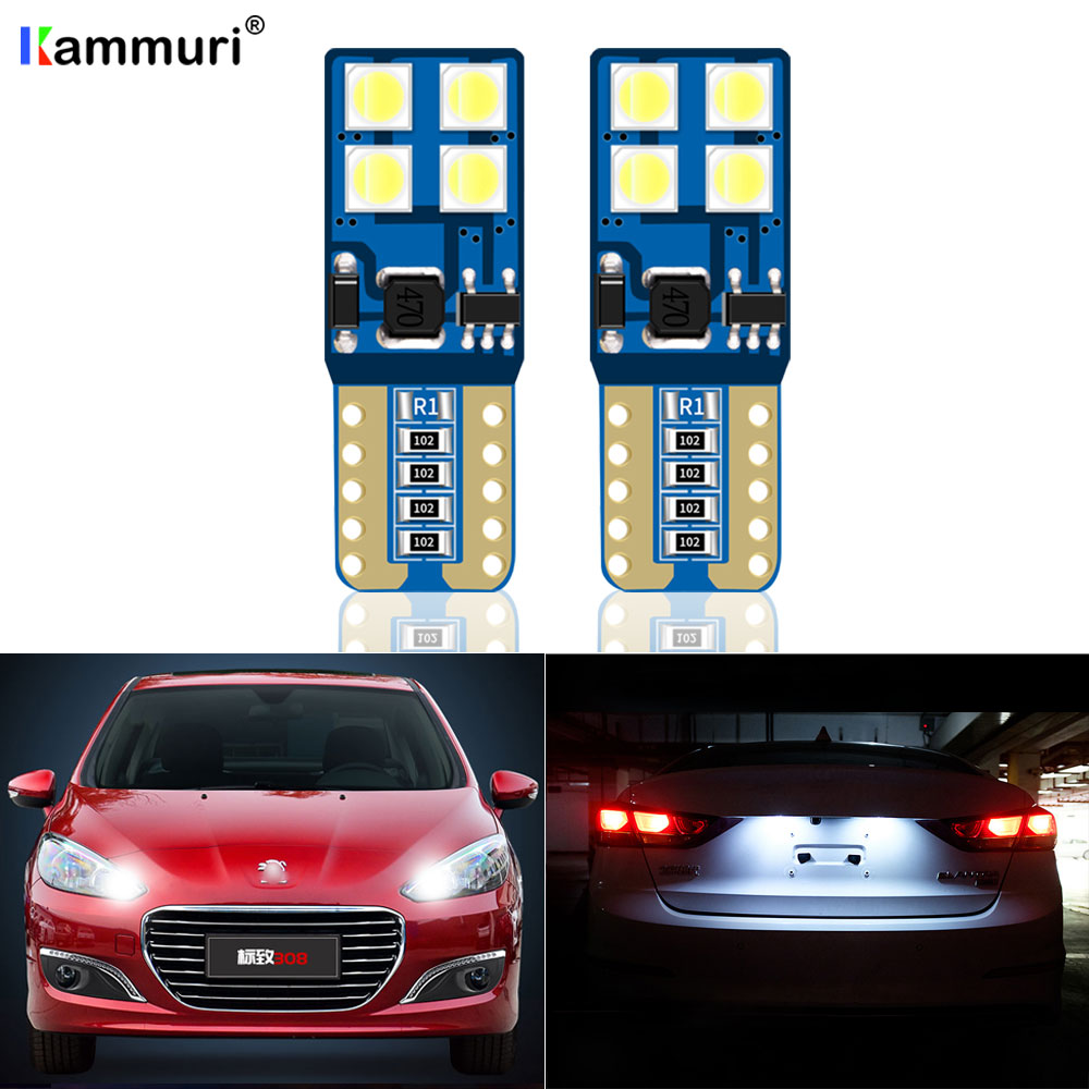 2xT10 <font><b>LED</b></font> Lamp W5W <font><b>LED</b></font> Canbus Parking Light for <font><b>Peugeot</b></font> 206 <font><b>207</b></font> 307 308 407 2008 3008 Auto Interior Lights White Yellow Ice blue image