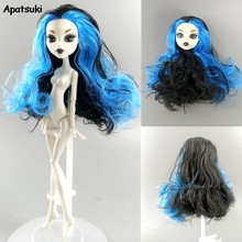 Blue Curls WIG Hair Heads for Demon Monster Doll Head for Monster High Doll Accessories DIY Toy for Kids 1/6 BJD Doll House Gift(China)