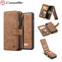 цена на Case For iPhone SE 5 5S Handmade PU Leather Large Capacity Detachable Zipper Wallet Cover For iPhone X 8 7 6 Plus Case