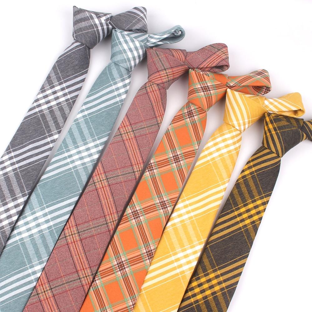 Fashion Skinny Neck Ties Casual Plaid Necktie For Wedding Business Boys Suits Cotton Tie Slim Men Necktie Gravatas
