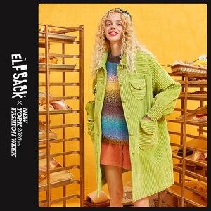 Image 2 - ELFSACK Grün Solide Einreiher Graben Mantel Frauen 2019 Herbst Winter Spezielle Tasche Bischof Hülse Büro Damen Outwears