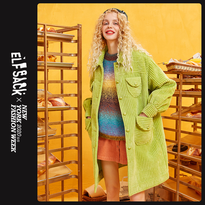 ELFSACK Green Solid Single Breasted Trench Coat Women 2019 Autumn Winter Special Pocket Bishop Sleeve Office Ladies Outwears