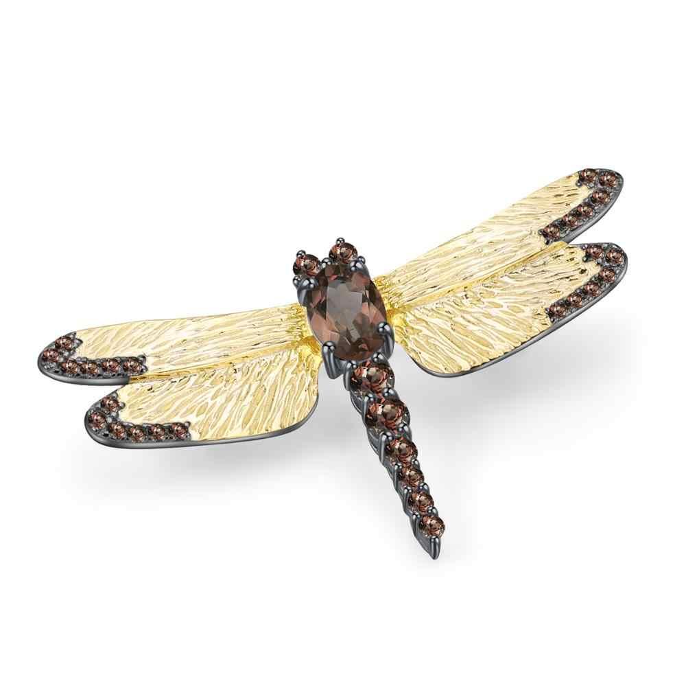 GEM'S บัลเล่ต์ 925 เงินสเตอร์ลิง Handmade DRAGONFLY เข็มกลัด 1.05Ct ธรรมชาติ VINTAGE Smoky ควอตซ์เข็มกลัดสำหรับผู้หญิงเครื่องประดับ Fine