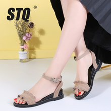 STQ 2020 Summer Women Sandals Suede Leather Flat Sandals Women Flat Rubber Sandalias Slippers Ladies Flat Low Heel Sandals 2028 cheap Cow Suede Gladiator Flat with Open Med (3cm-5cm) 0-3cm Casual Buckle Strap Fits true to size take your normal size Front Rear Strap