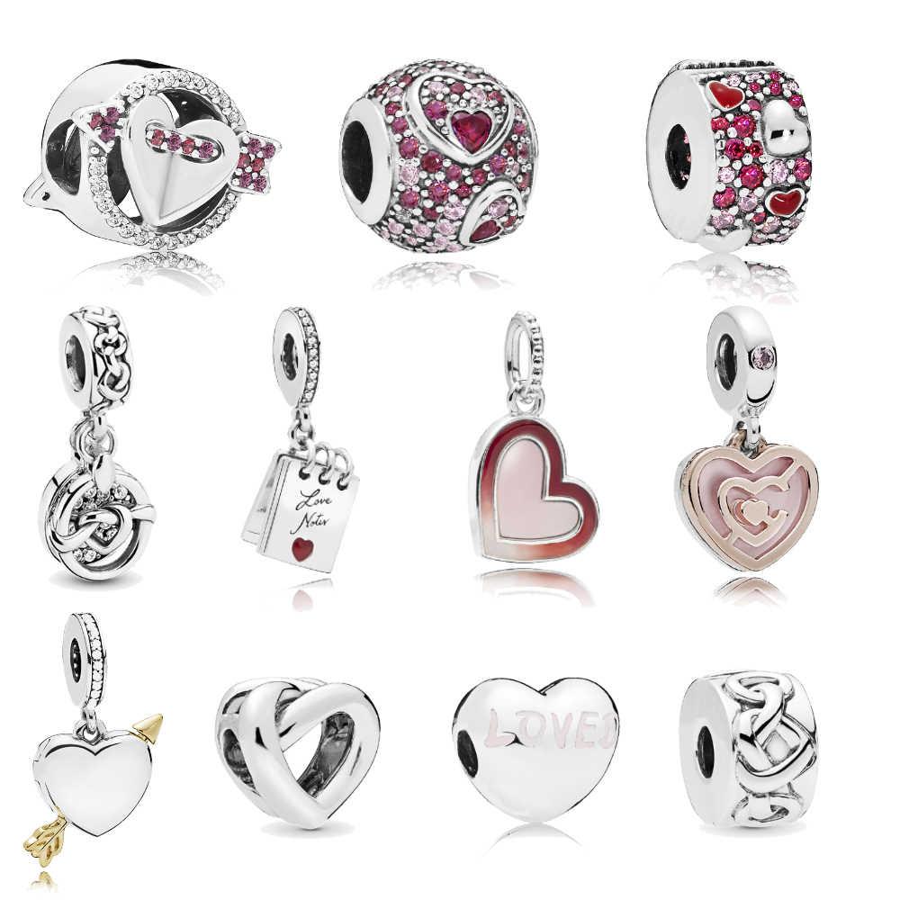 Homod flecha brillante anudado corazón notas de amor asimétrico corazones de amor dijes se adapta a Pandora pulsera joyería Mujer