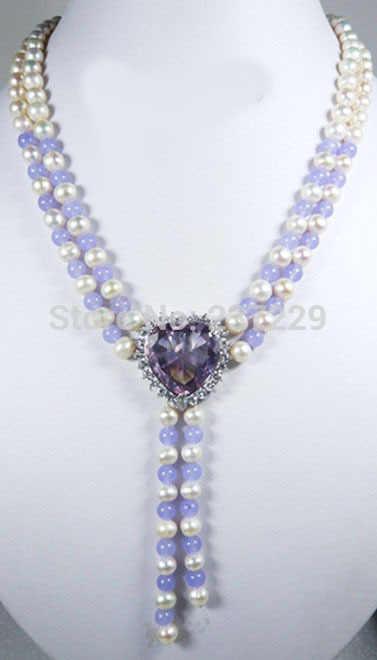 HOT # # ขายส่งราคาจัดส่งฟรี ^^^^ สีขาวมุกหยก Lavender Amethyst Heart 18KWGP คริสตัลจี้สร้อยคอ